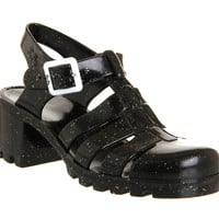 JuJu Babe Hi Jelly Shoes Black Glitter - Sandals