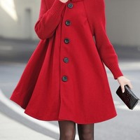 Fashion High Neck Long Sleeve Solid Color Cloak Wool Coat - NOVASHE.com