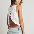 Free People Womens Sleeveless Lace Pieced Washed Tank