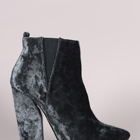 Crushed Velvet Pointy Toe Chunky Heeled Booties