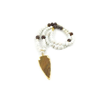 Arrowhead Necklace, Arrow Necklace, Jasper Arrowhead Pendant, Beaded, Howlite, Beaded Necklace, Birthday Gift, Boho, Gold Necklace