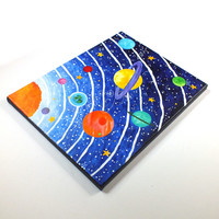 Art for Kids Rooms, Solar System No. 8, 14x11 Acrylic Canvas, Space Themed Nursery Decor
