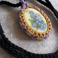 Vintage Cabochon Pendant Necklaces, no-metal,  forget me not, or rose flowers Crochet Edging