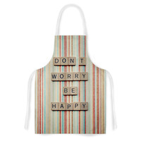 "Nastasia Cook ""Don't Worry Be Happy"" Typography Artistic Apron"