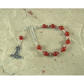 Thor Prayer Bead Bracelet in Carnelian:  Norse God of Thunder, Protector of Humanity