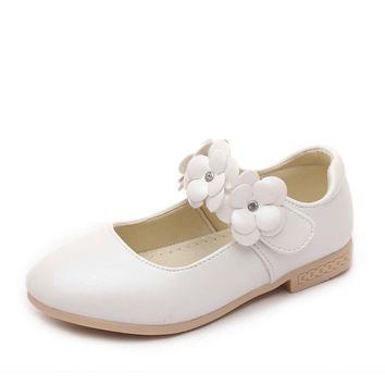 Childrens flower girl shoes 2017 new baby kids girls white shoes girls school princess