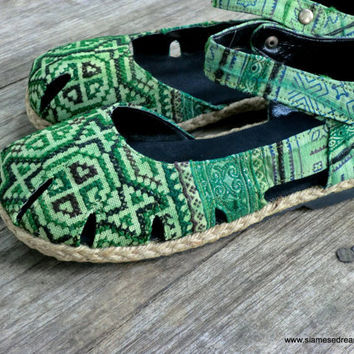 Ethnic Womens Shoes Emerald Green Hmong Embroidered Batik Espadrille Mary Jane Vegan