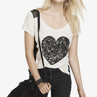SCOOP NECK GRAPHIC TEE - LACE AND RHINESTONE HEART from EXPRESS