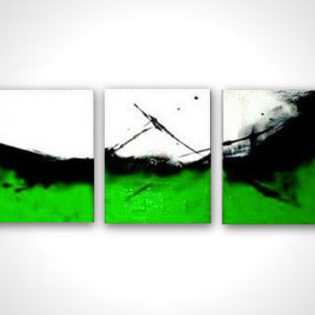 Green canvas art - Green art - Abstract painting - Huge art - Green artwork - Art deco green - Gallery wrapped - Decorative art