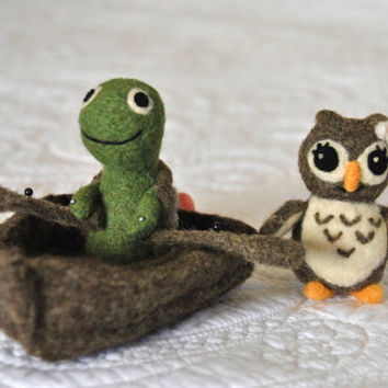 Owl and Turtle Wedding Cake Topper  AdoraWools  You by AdoraWools