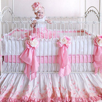 Rose Petals Silk Crib Bedding