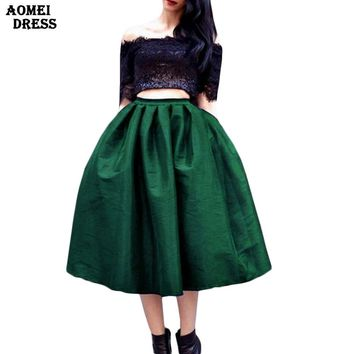 Women Summer Autumn Skirt with Pocket Knee Length Plus size S M L XL XXL 3XL 5XL High Waist Black Solid Color Jupe Skirts Saia