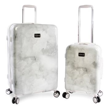 bebe White Lilah Spinner Two-Piece Luggage Set