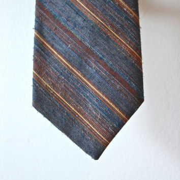 Flying Scotsman Brown Grey Knit Tie Vintage Gift for Him