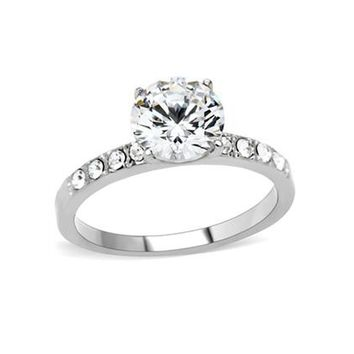 Dreamer - Round Cut Center Solitaire Cubic Zirconia Engagement Ring in Stainless Steel