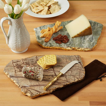 Marble Cheese Plate with Gold Leaf Edge