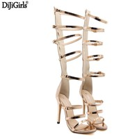 Women's Shoes With Heels 12cm Stiletto Heel Summer Gold High Heel Sandals Sexy Hollow Out Knee High Boots Sandals Ladies Sandals