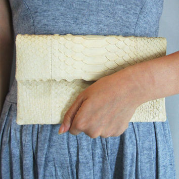 MINI Cream Nude Pastel Fold Over Python Snakeskin Leather Clutch