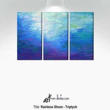 Blue & purple abstract 3 piece wall art canvas, Triptych print set - Living room wall decor, dining room pictures, bedroom artwork