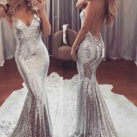 US STOCK Women Long Formal Sequin Dress Cocktail Party Ball Gown Evening Dress