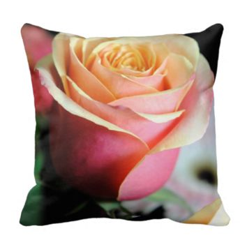Pastel Pink and Yellow Rose Pillows