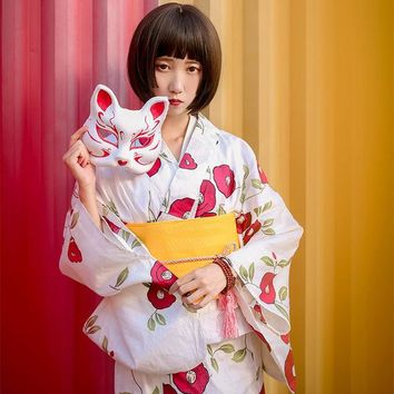 Japanese Traditional Kimono with Obi Women Yukata Sleepwear Bath Robe outside wear Japan Floral Kimono Cosplay Costume 012701