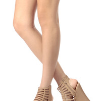 Tan Faux Leather Caged Open Toe Wedges