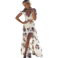 Floral print ruffles chiffon maxi dresses Strap v neck split beach summer dress Sexy backless women dress long vestidos -03d27