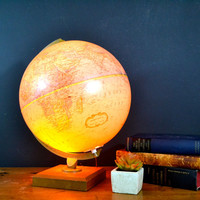 Vintage World Globe, Globe Light, Replogle Globe, World Premier Globe, 12 Inch Diameter, Mod Wood and Metal Base, Sphere Globe Bright Colors