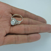 ON SALE Solid Ring,Rainbow Moonstone Gift Ring,Sterling Silver Ring,June Birthstone Rings,Blue Moon Stone Ring Size US 5 6 7 8 9 10