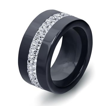 New 10MM Black and White 2 Row Crystal Ceramic Rings Women Engagement Promise Wedding Band Gifts For Women