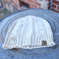 BearPaw Cable Knit Hat with Buttons {Ivory}