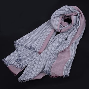 Unisex Style Winter Scarf Cotton And Linen Striped Color long women's scarves shawl fashion men scarf