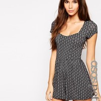 ASOS PETITE Exclusive Playsuit in Mono Tile Print
