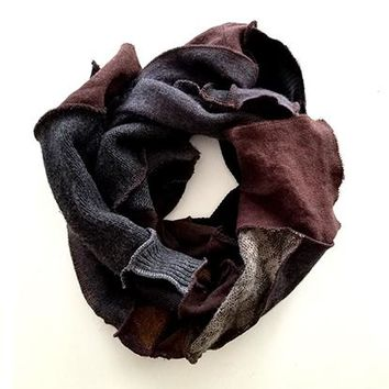 Dark Brown Patchwork Scarf