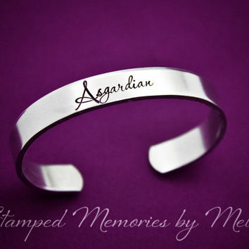 Asgardian - Hand Stamped Aluminum Cuff Bracelet - Loki's Army - Tom Hiddleston - The Avengers - Asgard Jewelry - Norse - Odin, Ultron, Sif