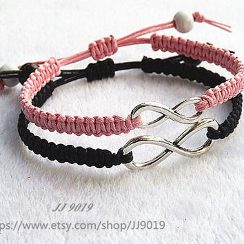 Infinity Bracelet,Couples bracelet Set, Pink Black His Her Bracelet ,Silver Infinity,Personalized Jewelry,Anniversary,Valentine's day gifts