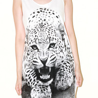Angry Leopard Tiger White Women Top Animal Shirt Tank Top Tunic Photo Art Punk Rock Pop Animal T-Shirt Size M
