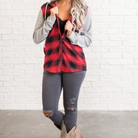 Dax Hooded Plaid Shirt (Red)