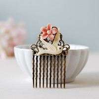 Blush Pink Flower Ivory Bird Hair Comb. Antiqued Brass Filigree Flower Collage Hair Comb. Vintage Wedding Bridal Comb, Flower Girl Hair Comb