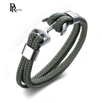 Mens Women Steel Screw Anchor Shackles Nautical Sailor Rope Cord Braided Wrap Bracelet Wristband