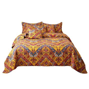 Tache Hanging Gardens Boho Chic Colorful Paisley Chevron Bedspread Quilt Set (HS3148Y)