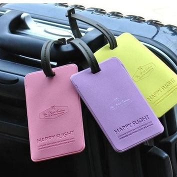 Jelly Color PVC Leather Bow Style Suitcase Luggage Belt Buckle Bag Name Address List Leather Tag