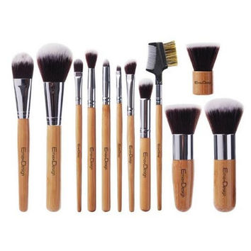 12 Pieces Makeup Brush Set Professional Bamboo Handle Premium Synthetic Kabuki Foundation Blending Blush Concealer Eye Face Liquid Powder Cream Cosmetics Brushes Kit Gift