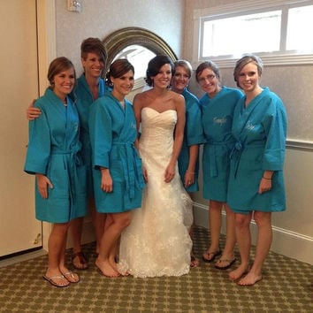 7 Personalized Spa Robes Embroidered Bridesmaids Gifts Bride Free front embroidery Custom