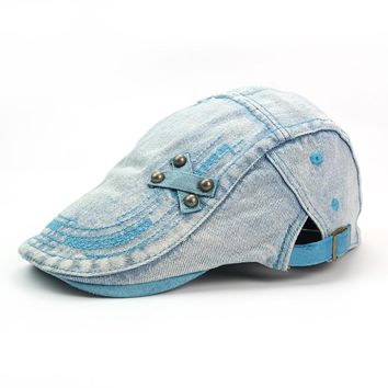 Snapback Mens Women Vintage Denim Beret Cap