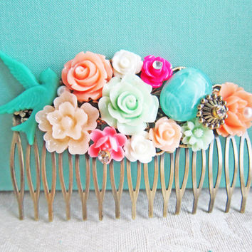 Bridal Hair Comb Wedding Bridesmaid Gift Hot Pink Turquoise Orange Aqua Sea Foam Mint Green Peach Apple Green Bright Colorful Shabby Chic
