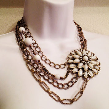 White blossom necklace // bib necklace // statement necklace // multiple bronze chains