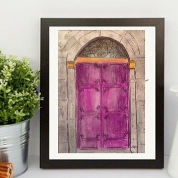 Architectural watercolor painting, Greece painting, pen and ink, Purple Door art, original painting,