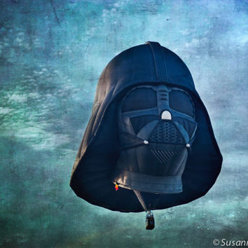 Kids Wall Art, Hot Air Balloon, Darth Vader Star Wars Character, Photography Fine Art Print, Magical Fantasy, Blue Green Sky, Dark, Black